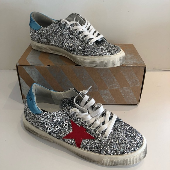 ab8b8e300c42 Golden Goose Shoes - Golden Goose Silver Glitter May Sneakers